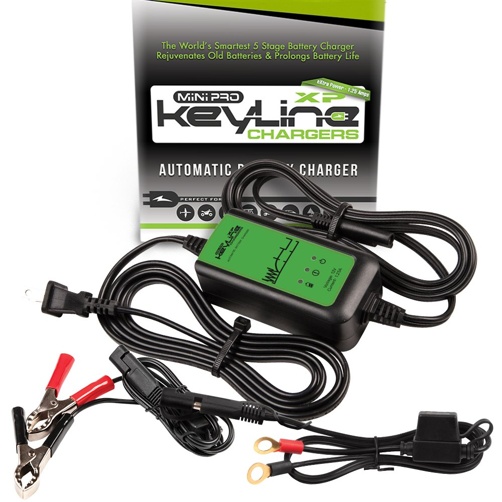 KeyLine Chargers KC-125-MPXP 12V 1.25 Amp Automatic Mini Pro-XP Car Battery Charger (5 Stage Maintainer, Conditioner, Desulfator and Tender)