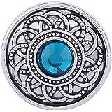 Morella Damen Click-Button Druckknopf Blumen Ornament mit türkisem Zirkoniastein