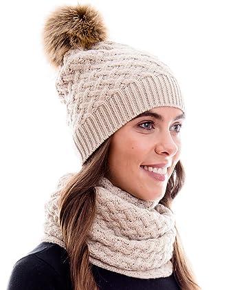 8122b18fcba0aa Hilltop Winter Kombi Set, bestehend aus Damen Schal und passender Strick  Mütze. Bommelmütze mit Pompon in aktuellen Farbkombinationen, Winter Set:3A-creme:  ...