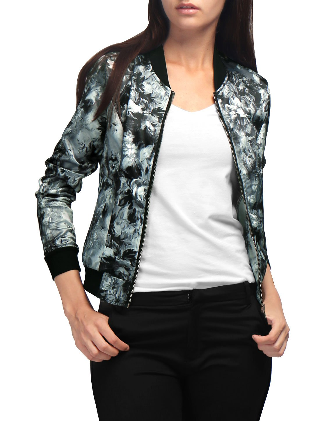 Allegra K Women's Stand Collar Zip Up Floral Prints Bomber Jacket s18040800it0117