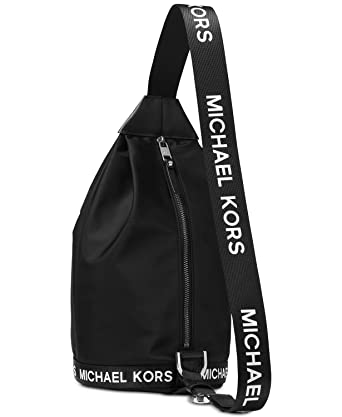 e3af57f844cb75 Michael Kors Michael Black Nylon Sling Pack Black Fabric: Amazon.co.uk:  Clothing