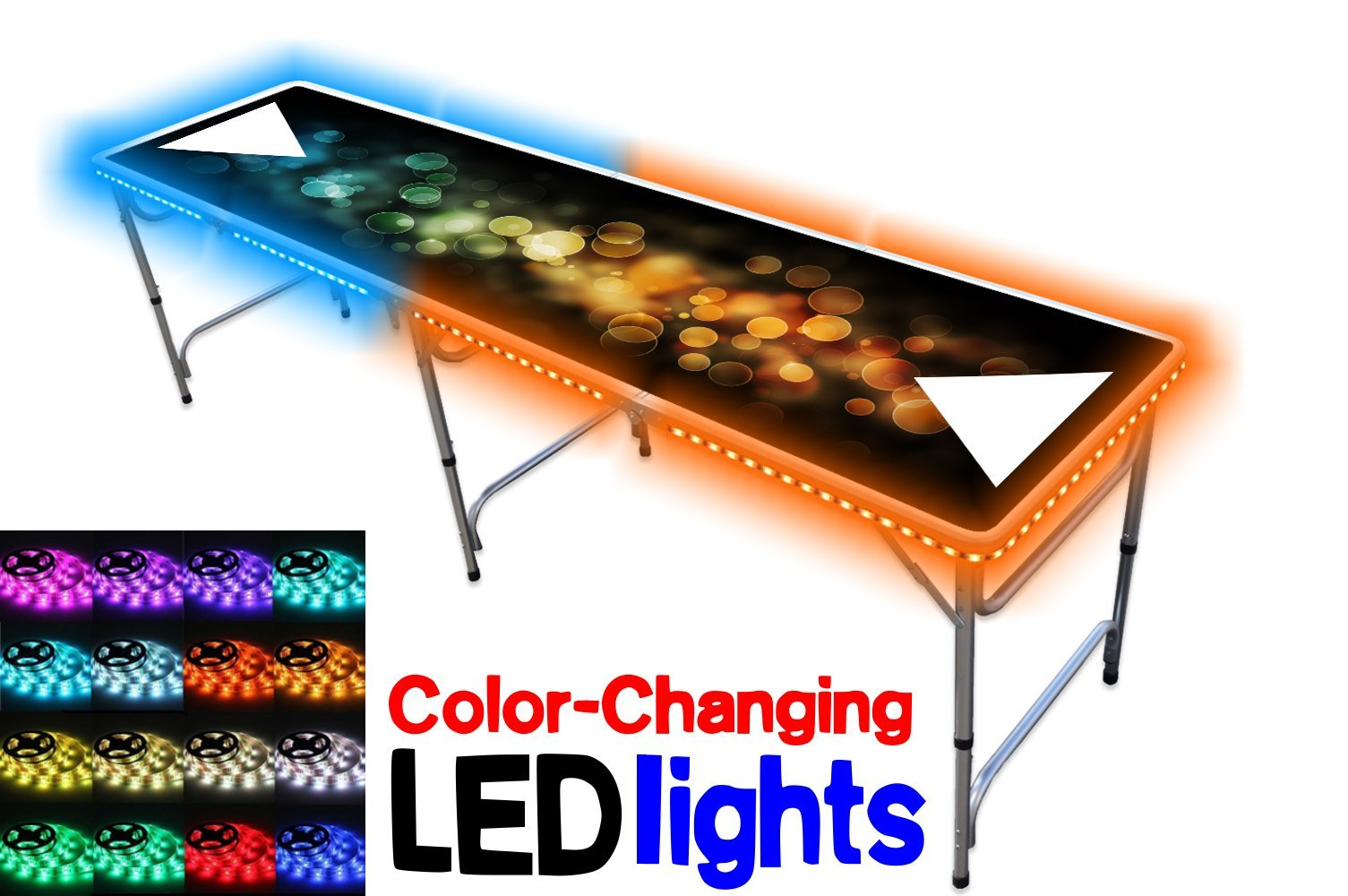 PartyPongTables.com 8-Foot Beer Pong Table with LED Lights - Bubbles Edition