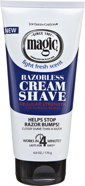 Magic Razorless Cream Shave Regular Strength Light Fresh Scent 6oz Tube
