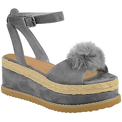 2c955e2d936 Miss Image UK Womens Ladies Pom Pom Espadrille Platform Wedge Ankle Strap  Sandals Shoes Size