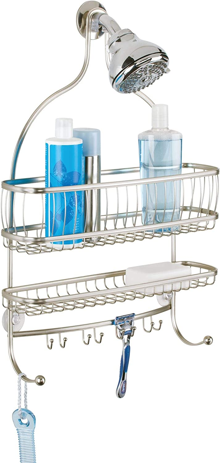 Conditioner and More iDesign York Metal Wire Hanging Shower Caddy Satin/Silver Towels 16 x 4 x 22.25 and Soap with Hooks for Razors Extra Wide Space for Shampoo