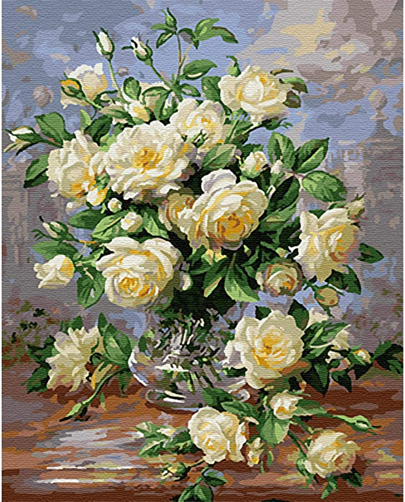 Haluoo DIY Oil Paintings by Numbers for Adult Kids Beginner Fresh Flowers DIY Paintings by Numbers Canvas Acrylic DIY Painting Decorative Pictures for Bedroom Living Room