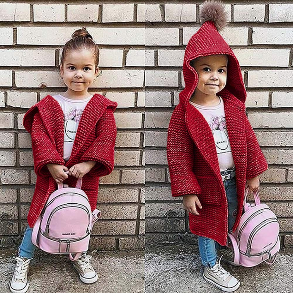 Memela Baby Clothes,Children Kids Baby Girls Solid Hooded Knitted Sweater Cardigan Coat Clothes