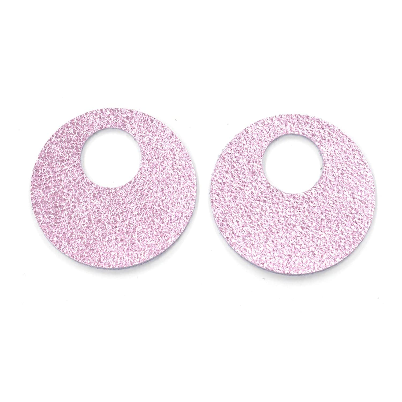 12pk-Leather Large Window Circle Die Cut Excaliburs SilverVegasDIY Earrings