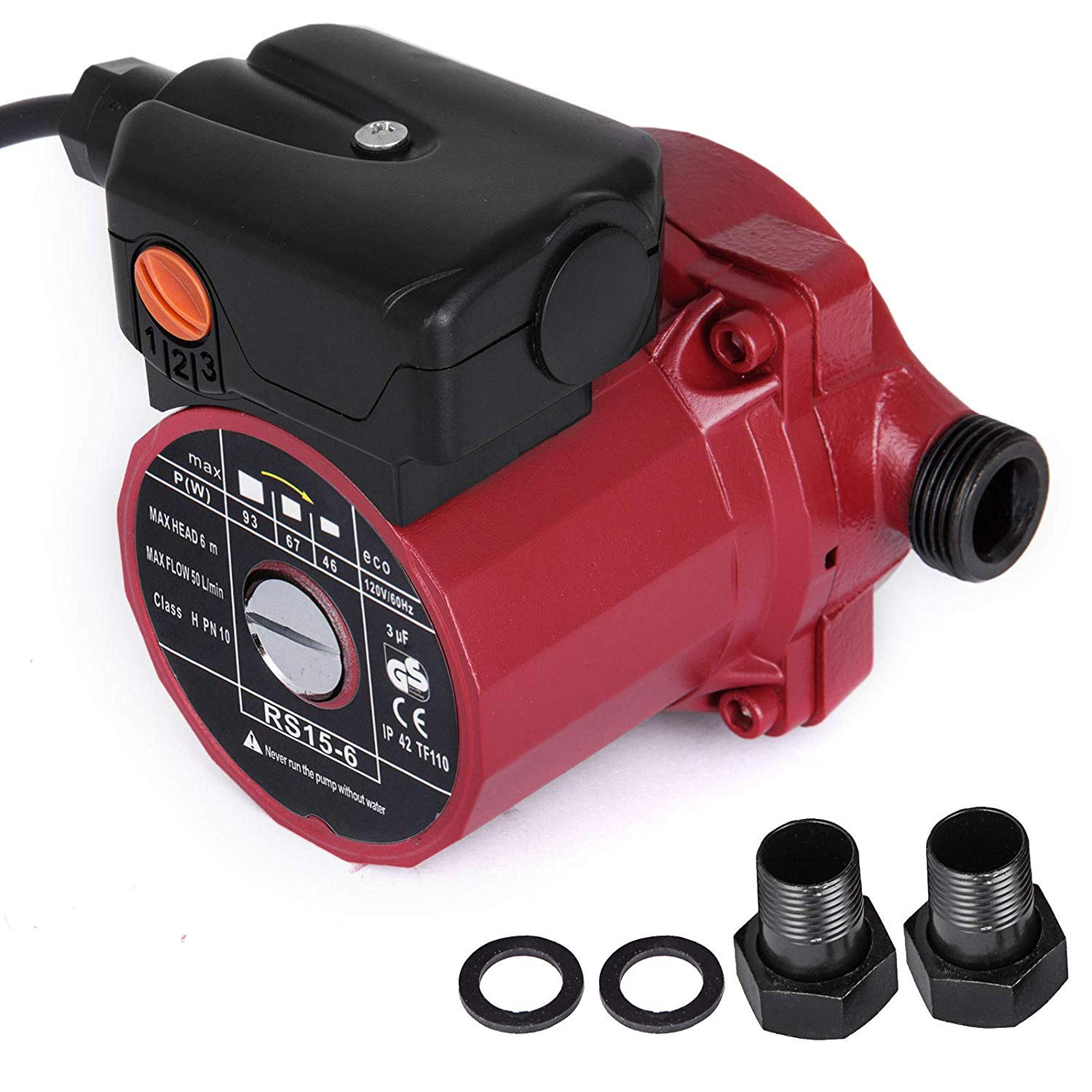 Happybuy RS15-6 Hot Water Recirculating Pump 110V Circulation Pump 0.75 inches NPT 3-speed Recirculation Pump 9.5 Gpm for Water Heater System by Happybuy (Image #1)