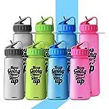 HOMPO Sports Water Bottle - 500ml/ 900ml Bpa Free Plastic Water Bottles with Straw, Reusable Leakproof Tritan Drinks Bottle for Kids, Gym, Bike, Running, School, Travel