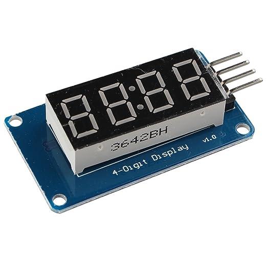 haljia 4-segment reloj TM1637 LED tubo digital de 4 dígitos módulo de visualización con brillo ajustable para Arduino: Amazon.es: Iluminación