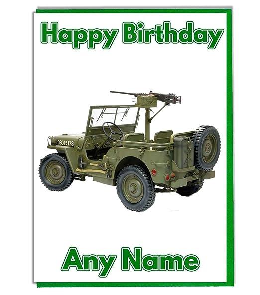 Militar Ejército Jeep vehículo personalizado tarjeta de ...