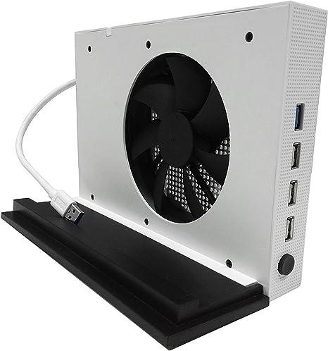YockTec Xbox One S Soporte vertical con Ventilador de Refrigeración y 4 Concentradores USB para Xbox One S Consola-Blanco: Amazon.es: Videojuegos