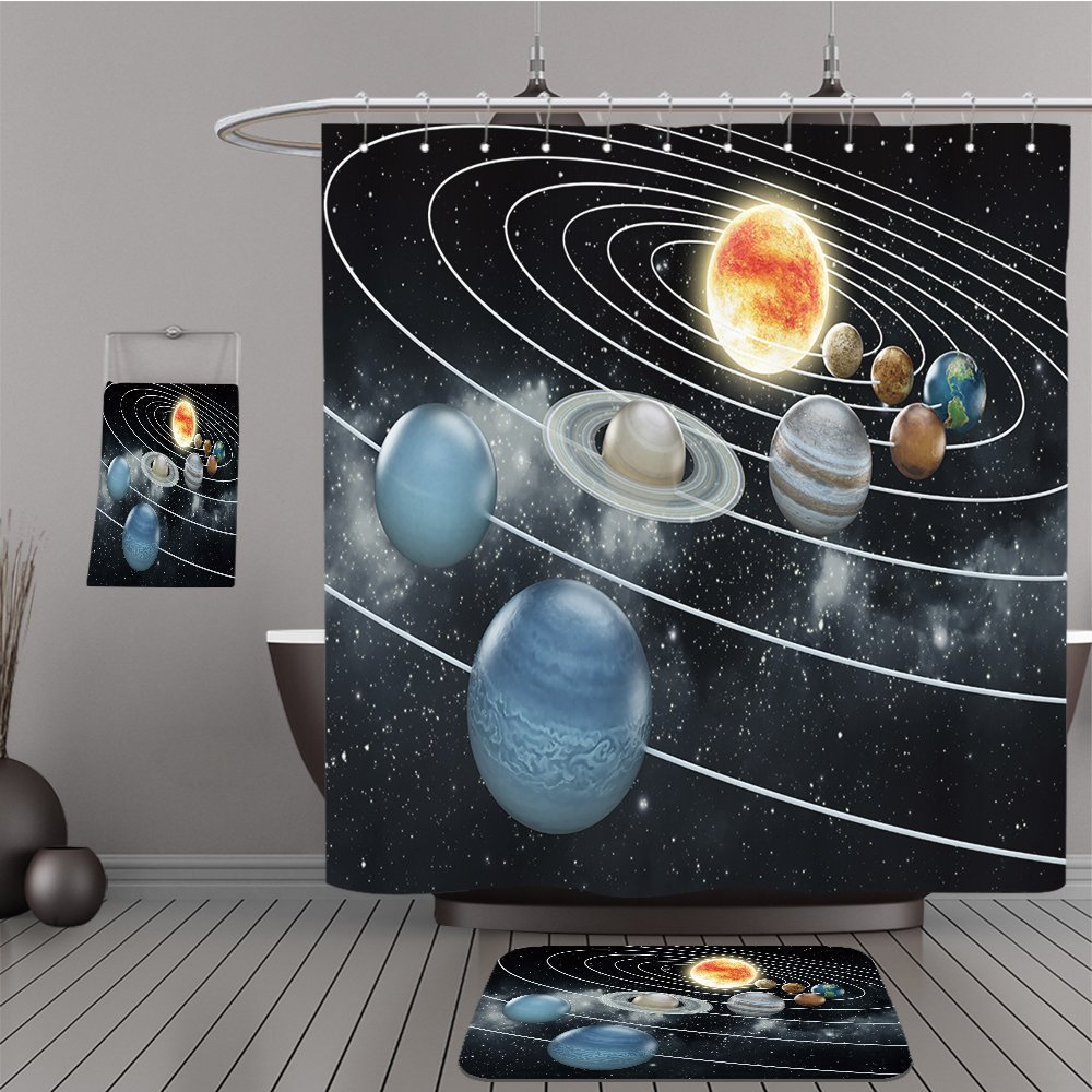 Uhoo Bathroom Suits & Shower Curtains Floor Mats And Bath Towels 208294861 Solar system with eight planets. For Bathroom