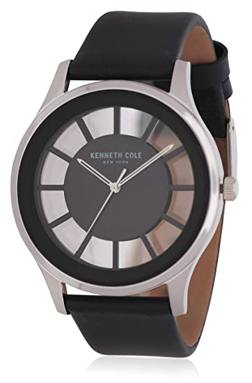 Amazon.com: Kenneth Cole New York All Black Transparent Dial Leather Strap Watch: Kenneth Cole: Watches