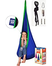 AMAZEYOU Kids Swing Hammock Pod Chair - Child's Rope Hanging Sensory Seat Nest Indoor Outdoor Use Inflatable Pillow - Great Children, All Accessories Included