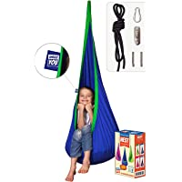 AMAZEYOU Kids Swing Hammock Pod Chair - Child's Rope Hanging Sensory Seat Nest for Indoor and Outdoor Use - Great for Children, All Accessories Included