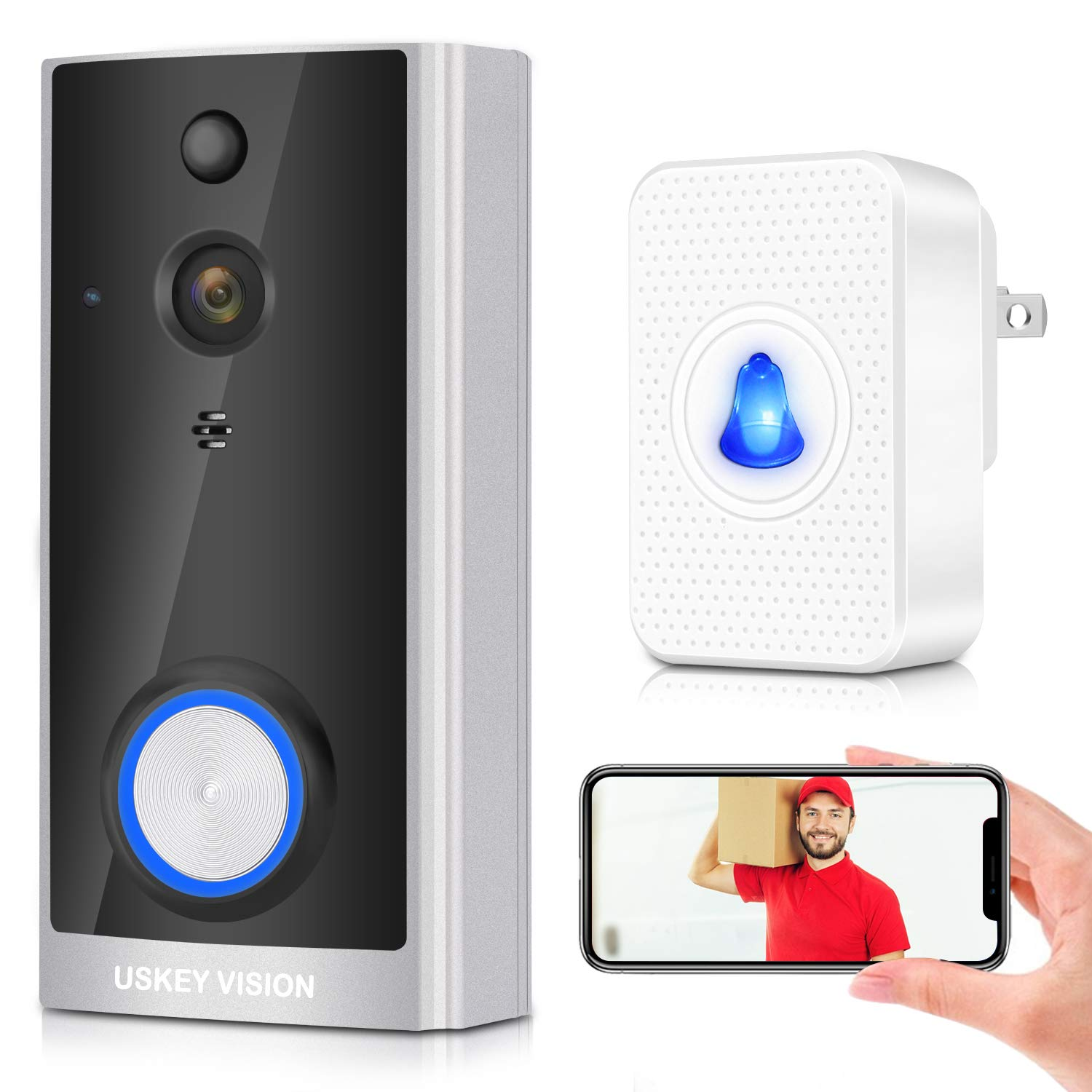 Wireless Video Doorbell with Chime, Wireless Doorbell with Camera and Video,Wirefree Battery Video Doorbell, Freewire Rechargeable Battery Doorbell 2-Way Audio 720P APP Control by USKEYVISION (Silver)