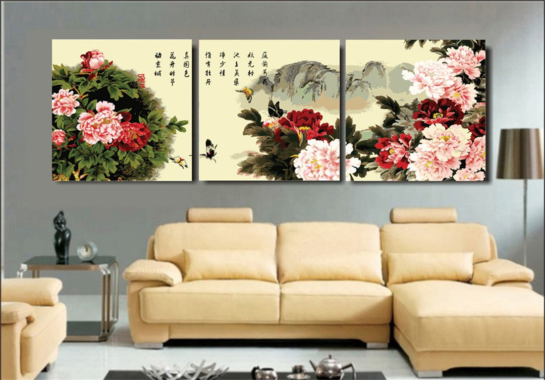YEESAM Art New Paint by Numbers for Adults 3 Piece Pack Panel - Ink Peony Flowers 16x16 inch Linen Canvas - DIY Painting Three Pieces Multipack Wall Art (with Frame)