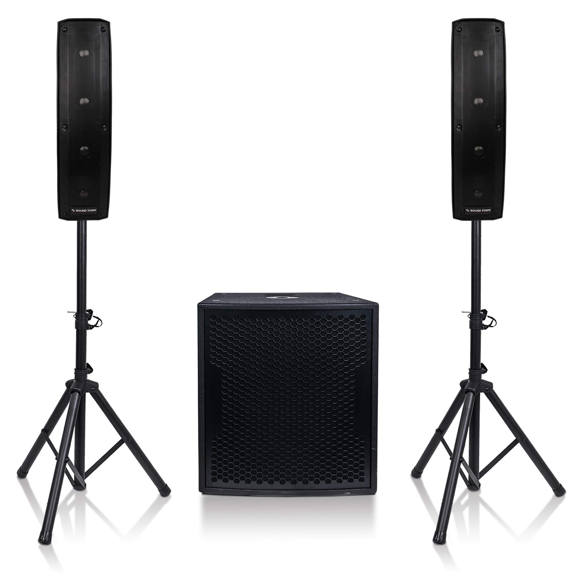 Sound Town Subwoofer and Column Speaker Line Array System CARPO-V415SPW with Two 500W Passive Column Speakers and One 15'' 1600W Powered Subwoofer by Sound Town