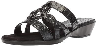 5ea70700d53 Easy Street Women s Torrid Flat Sandal Black Crocodile 5 ...