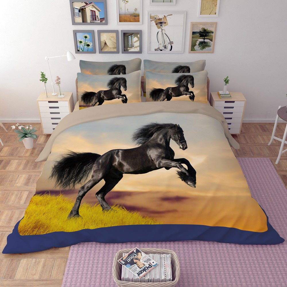 RuiHome 4-Piece Polyester Bedding Full Size Duvet Cover Set for Teens Kids Bedroom College Dorm Room, Black Horse Print