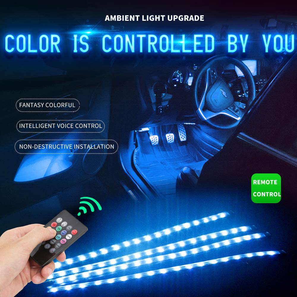 Car LED Strip Lights 4pcs 72LED Interior Lights Multi Color Music Car Strip Light Under Dash ambient Lighting Kit with Sound Active Function,Waterproof Atmosphere Neon Lights Strip for Car-Car Auto