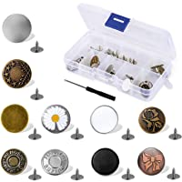 TAIHE 12-Pack Button Pins, Button Pins for Jeans Adjustable Jeans Button Pins Instant,with Rivets and Metal Base