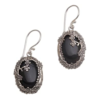 c19b033df Image Unavailable. Image not available for. Color: NOVICA Black Onyx .925 Sterling  Silver Floral Dangle Earrings ' ...