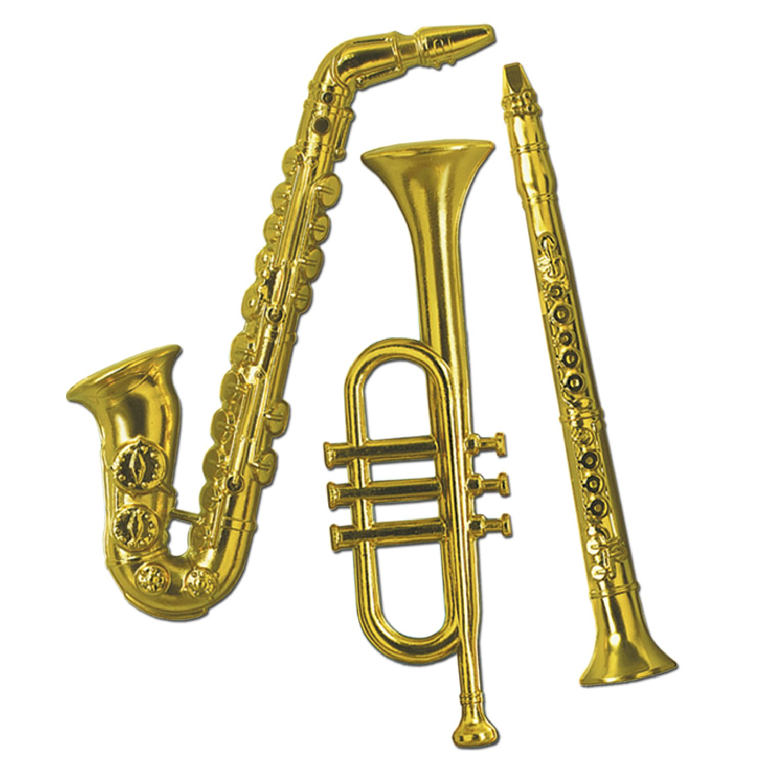 Amazon.com: Gold Plastic Musical Instrument Wall Decorations Package ...