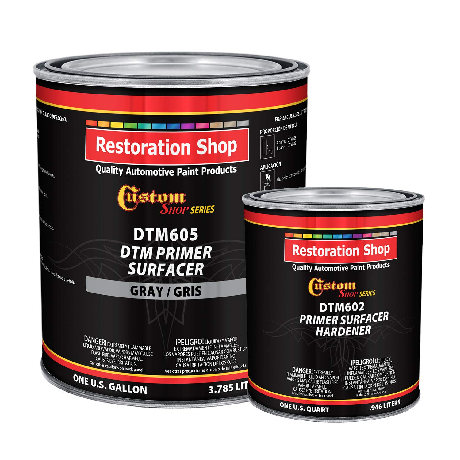 Custom Shop - Gray DTM High Build 2K Primer Surfacer 2.1 VOC (1-1/4 Gallon Kit) High-Performance Direct to Metal Primer for Automotive and Industry use Kit= 1 Gal. of DTM Primer and 1 Qt. of Hardener by Custom Shop (Image #1)
