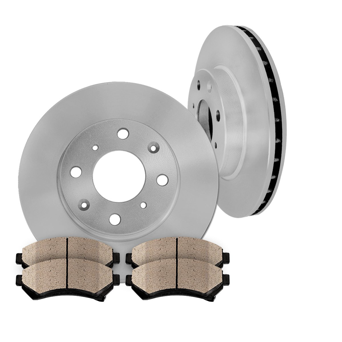 FRONT 257 mm Premium OE 4 Lug [2] Brake Disc Rotors + [4] Ceramic Brake Pads
