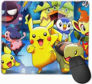 Men Mouse Pad Japanese Anime Pikachu Cool Non-Slip Mouse Mat Personalized Desk Pad Stylish Desk Mat for Office,Computer,Professional Esports