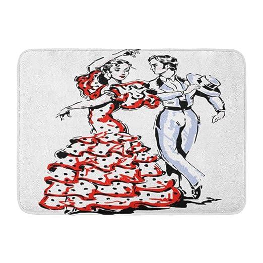 Alfombras de baño Alfombras de baño Alfombra de puerta para exterior / interior España roja Bailarines típicos españoles Baile flamenco Vestido de flamenco Decoración de baño Alfombra Alfombra de bañ: Amazon.es: Hogar