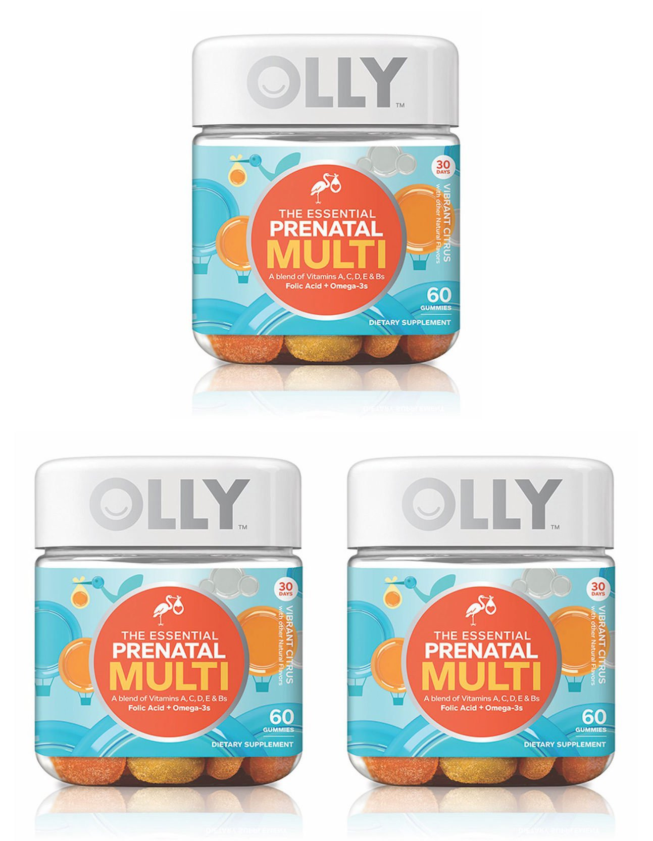 Olly Essential Prenatal Multivitamin Gummy Supplement, with FOLIC ACID + Omega-3s, Vibrant Citrus, 60 count, 3 Pack