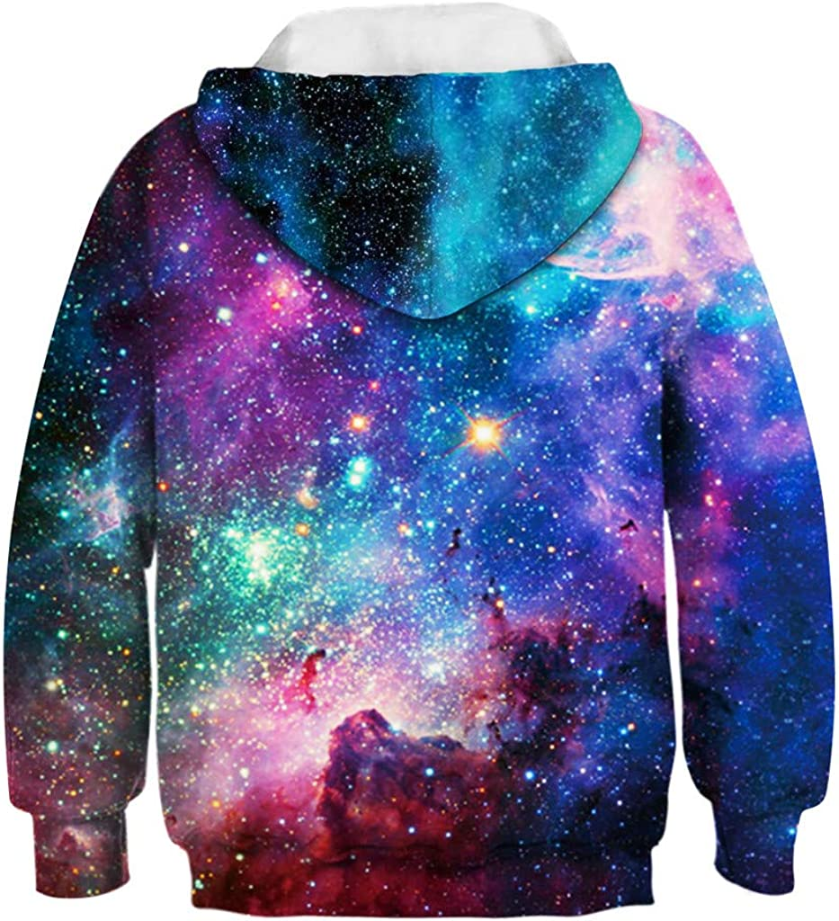 Sikye Fashion 3D Hoodies,Kid Boys Girls Galaxy Pattern Printed Sweatshirt Fall Winter Pullover Kangaroo Pocket