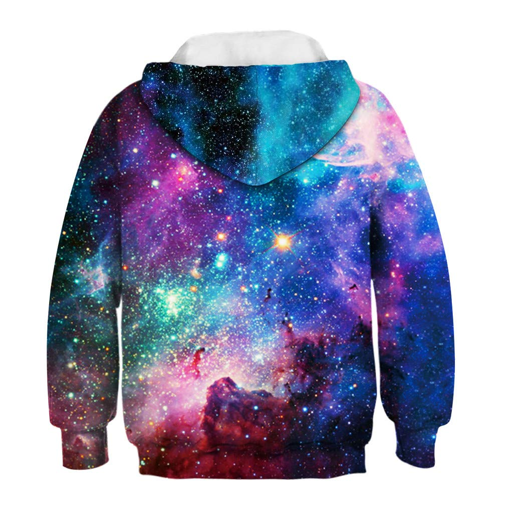 ❤️ Mealeaf ❤️ Teen Kids Boy Girl Galaxy Fleece Print Cartoon Sweatshirt Pocket Pullover Hoodie Coat Tops Clothes 4-13 Years