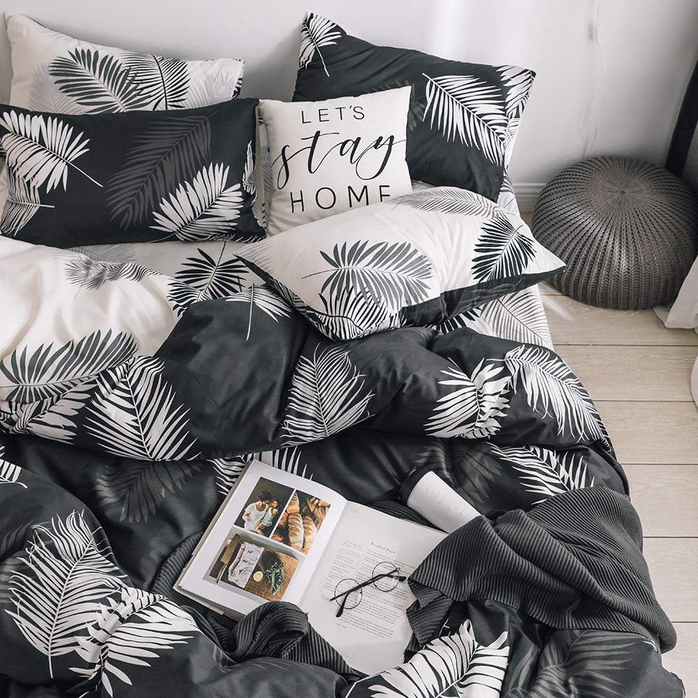 BuLuTu King Duvet Cover Cotton Black White Tropical for Kids Adults,Modern Neutral Botanical Leaf Boho Reversible Men Women Bedding Sets King Comforter Cover Zipper Closure,No Comforter