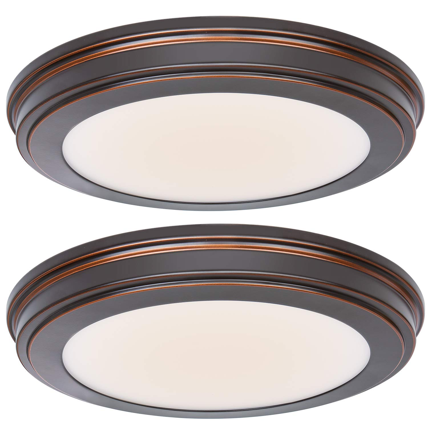 Hykolity 13 inch Oil Rubbed Bronze LED Ceiling Flush Mount, 3000K/4000K/5000K Switch 1365LM, 180W Incandescent Equivalent,CRI90 LED Round Ceiling Light Fixture for Bathrooom Bedroom Dining Room Office