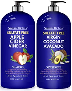 Natural Riches Apple Cider Vinegar Shampoo and Avocado Coconut Conditioner Set - Restores Shine & Reduces Itchy Scalp, Dandruff & Frizz - Sulfate Free, for All Hair Types, Men and Women 2x16 oz