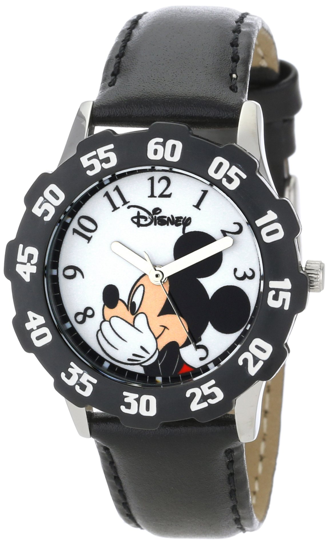 Disney Kids' W000850 ''Tween Mickey Mouse'' Stainless Steel Watch With Black Leather Band