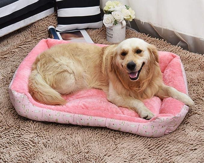 GUOCU Cama para Perro Lavable con Almohadas Sofá para Mascotas Lavable Rectangular Canasta de Mascotas Conjunto de Cuatro Piezas Rosa L: Amazon.es: ...