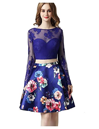 FeliciaDress Two Pieces Prom Gown Homecoming Dress Sweetheart Long Sleeve Sexy Backless Lace Applique Floral Print