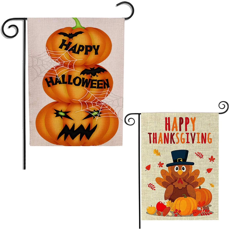 2Pack Halloween Pumpkin Garden Flag Double Sides for House Outdoors Yard Decorations Happy Halloween Waterproof Garden Flag,Thanksgiving Garden Flag for Thanksgiving Day by DmHirmg(2 Pack)