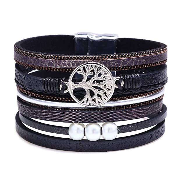 Tree of Life Leather Cuff Bracelet Handmade Wristband Bohemian Casual Bangle Wrist Braided Magnetic Buckle Jewelry Set for Women, Teen Girl, Boy, Teenager Gift (Black Cuff Bracelet)
