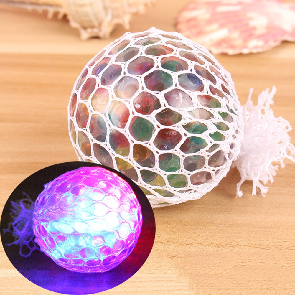 Baost 1Pc LED Light Crystal Slime Squishies Glowing Mesh Grape Ball Vent Toy Anti Stress Reliever Squeeze Toy Gift for Office Adults Kids Boys Girl Multicolor