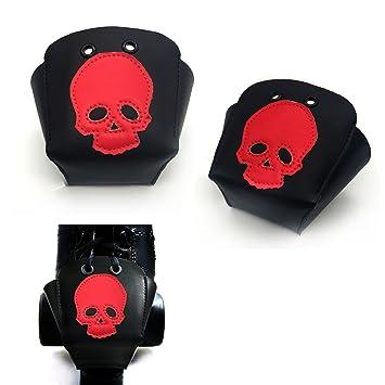 Karlchoupte Punteras para patines de ruedas, de cuero, con diseño de calavera