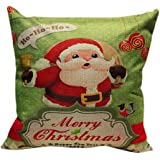 Christmas Pillow Case,Beautyvan Christmas Linen Square Throw Flax Pillow Case Decorative Cushion Pillow Cover (1~B)