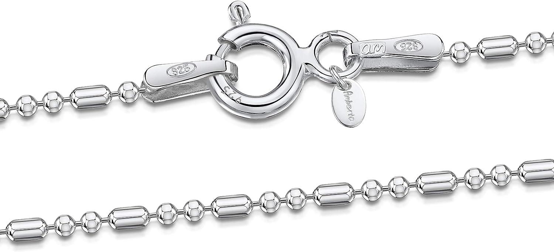 Amberta® Joyería - Collar - Fina Plata De Ley 925 - Diamante Corte- Cadena de Bola - 1.2 mm - 40 45 50 55 60 70 cm (45cm)