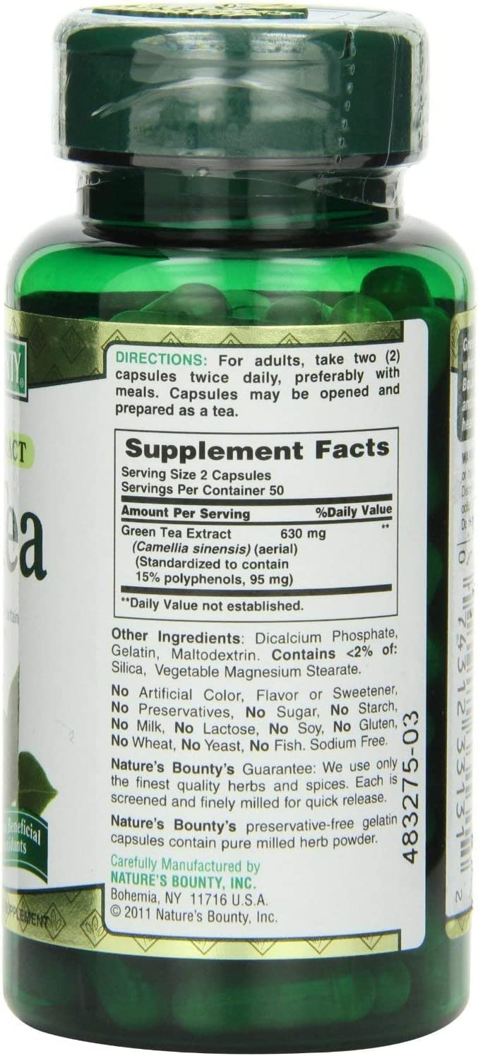 Nature s Bounty Green Tea Extract, 315mg, 400 Capsules 4 X 100 Count Bottles